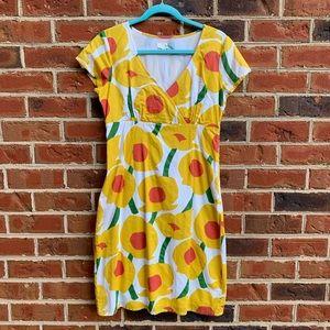 Cotton Boden short sleeve dress w/ yellow flowers